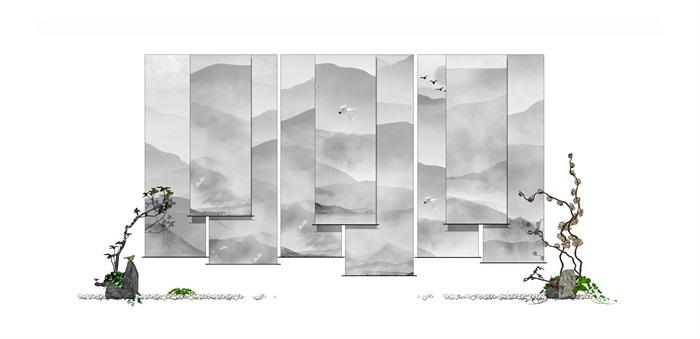 新中式屏风摆件装饰组合(3)