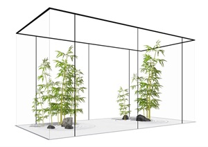 新中式 庭院枯山石 竹子 鹅卵石景观小品组合SU(草图大师)模型