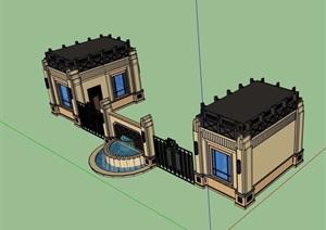 详细的完整大门素材设计SU(草图大师)模型