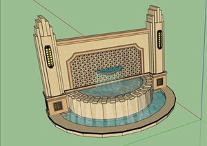 新古典风格水池景墙素材设计SU(草图大师)模型