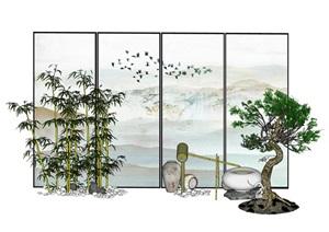 新中式屏风 隔断 竹子 鹅卵石 小品组合SU(草图大师)模型