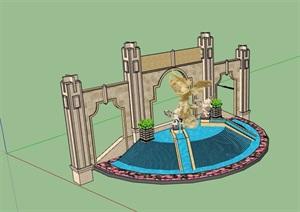 欧式风格详细的水池景墙SU(草图大师)模型