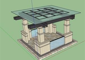 园林景观详细完整的玻璃凉亭设计SU(草图大师)模型