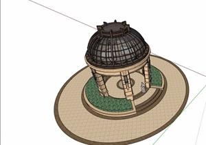 新古典圆形景观亭素材设计SU(草图大师)模型
