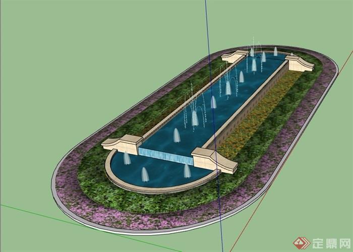 欧式喷泉水池及花池设计su模型