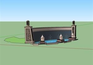 喷泉水池景墙SU(草图大师)模型