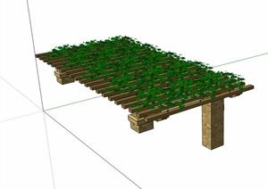 园林景观详细的花架SU(草图大师)模型