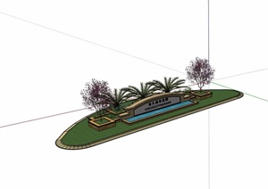 某欧式风格标志景墙设计SU(草图大师)模型