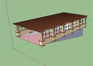 休闲的车库廊架设计SU(草图大师)模型