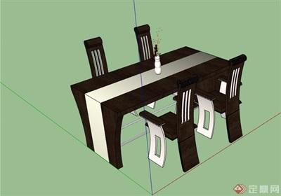 详细的私人餐桌椅设计su模型