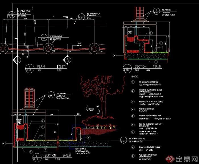 现代园林景观灯柱设计cad施工图