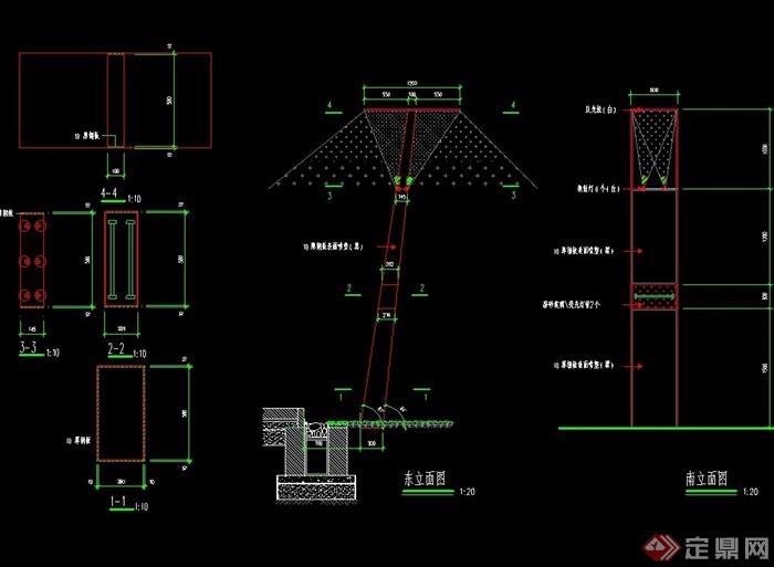 园林景观灯柱cad施工图