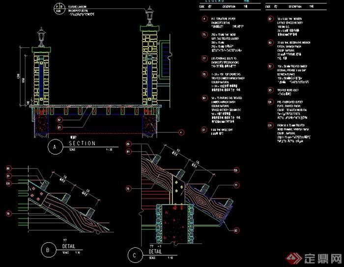 欧式风格灯柱设计cad施工图