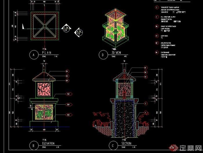 中式园林景观路灯柱设计cad施工图