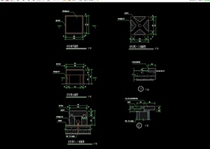 现代园林景观石灯设计cad施工图