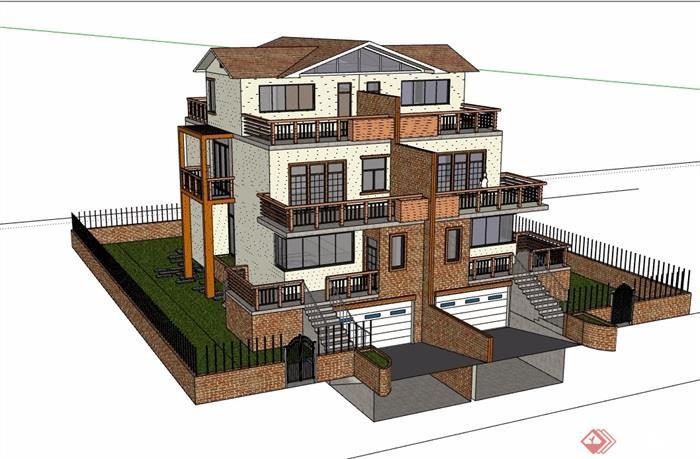 双拼住宅多层别墅设计su模型