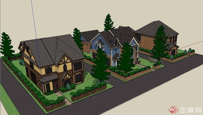 欧式别墅小区两层住宅建筑su模型