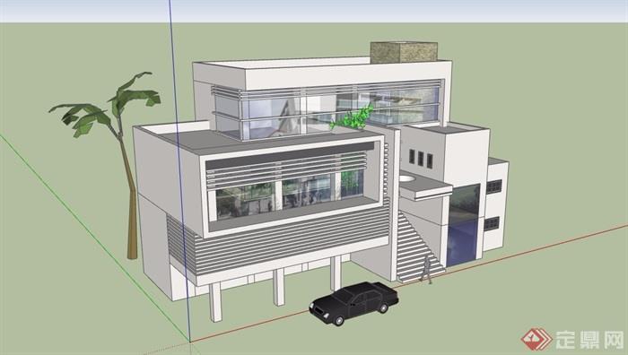 三层简单住宅别墅设计su模型