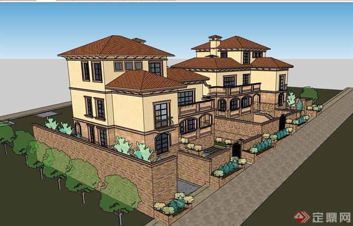 经典的别墅小区建筑su模型
