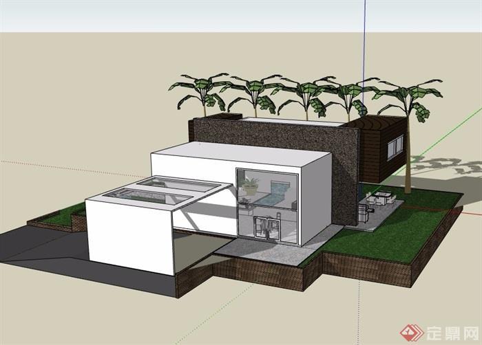 两层完整的住宅别墅设计su模型