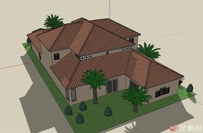 欧式风格详细的两层私人别墅设计su模型