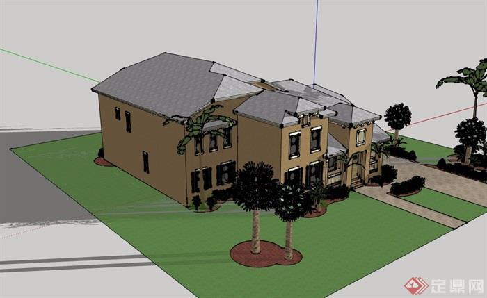 欧式风格两层私人民居别墅设计su模型