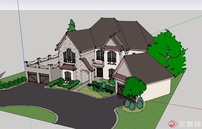 两层详细的完整别墅设计su模型