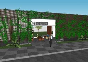 城市公共厕所卫生间环卫工休息处CAD平面SU(草图大师)模型方案设计