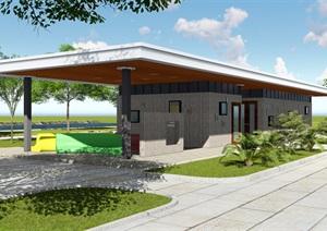 市级公共厕所卫生间环卫工休息处CAD平面SU(草图大师)模型方案设计