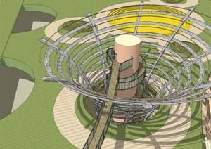 参数化螺旋发散式景观螺旋楼梯观景眺望塔