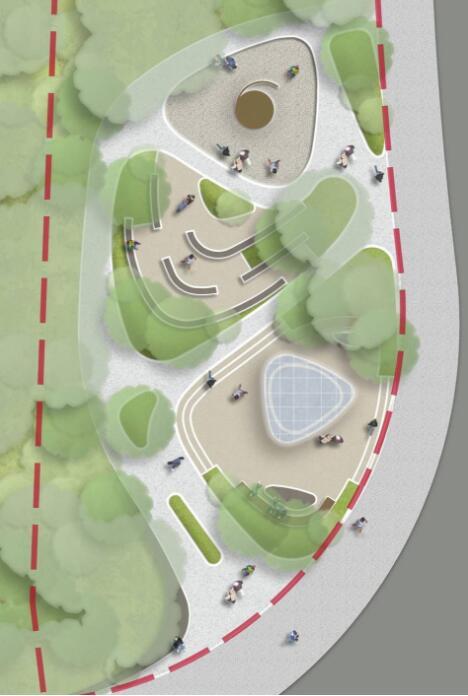 曲线有机式街边小广场休闲公园景观节点(2)