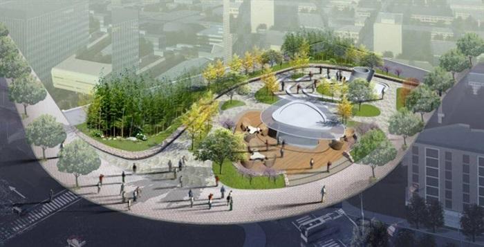曲线有机式街边小广场休闲公园景观节点(4)