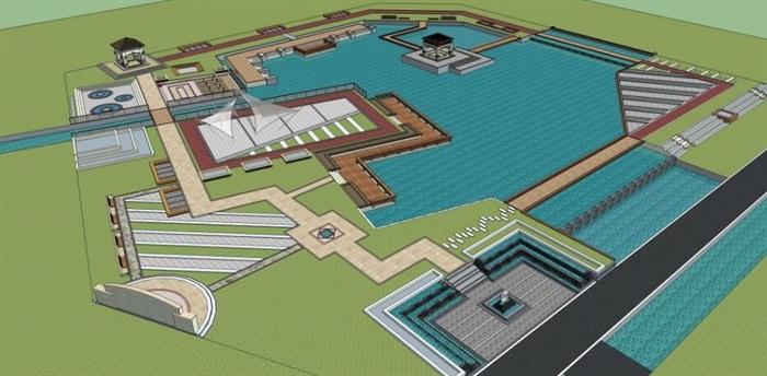 湖泊核心水景公园滨水步道休闲景观滨水广场公园设计(1)