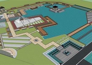 湖泊核心水景公园滨水步道休闲景观滨水广场公园设计