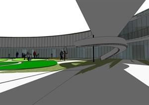 圆形曲线螺旋上升坡道式绿化活动屋顶平台创意幼儿园设计