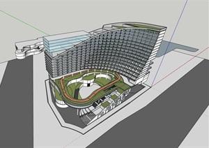 曲线弧形式退台底层商业服务中心宾馆酒店综合体