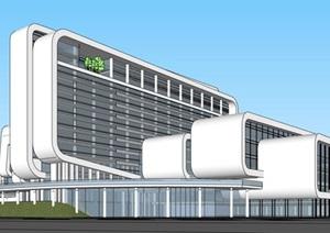 现代简洁白色圆弧倒角大型专科医学院疗养院规划设计