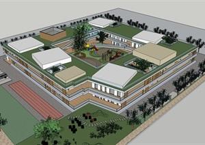 创意庭院中心围合式体块组合式连廊连接木格栅表皮幼儿园托儿所设计