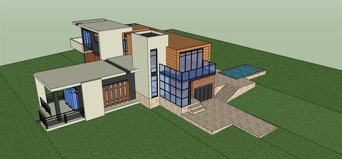 现代简约构成式木材白墙暖色调私人住宅别墅模型su cad设计图施工大样图套图(1)