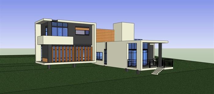 现代简约构成式木材白墙暖色调私人住宅别墅模型su cad设计图施工大样图套图(3)