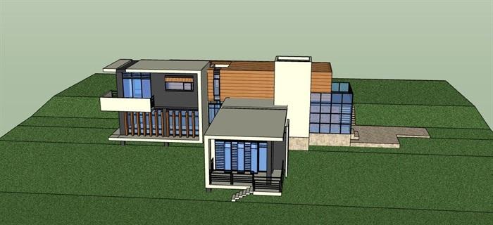 现代简约构成式木材白墙暖色调私人住宅别墅模型su cad设计图施工大样图套图(2)