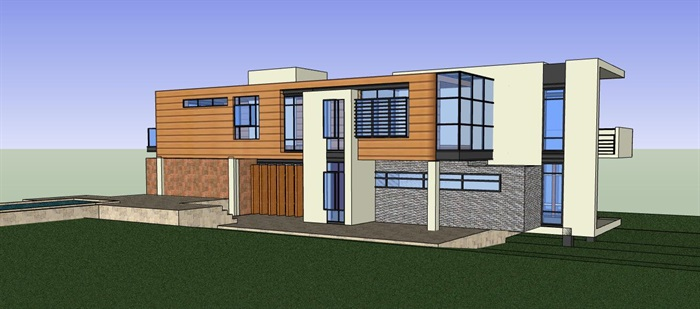现代简约构成式木材白墙暖色调私人住宅别墅模型su cad设计图施工大样图套图(4)