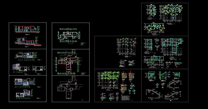 现代简约构成式木材白墙暖色调私人住宅别墅模型su cad设计图施工大样图套图(8)