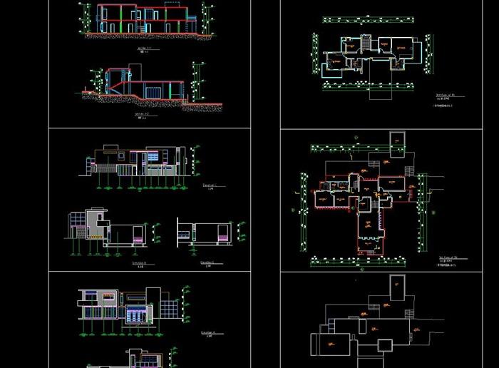 现代简约构成式木材白墙暖色调私人住宅别墅模型su cad设计图施工大样图套图(9)