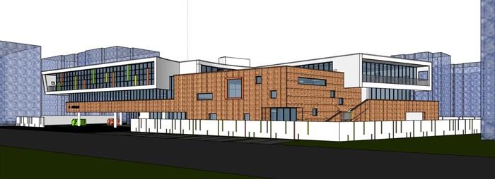 现代创意立体台阶式绿化屋顶活动平台幼儿园托儿所设计(1)