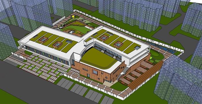 现代创意立体台阶式绿化屋顶活动平台幼儿园托儿所设计(2)