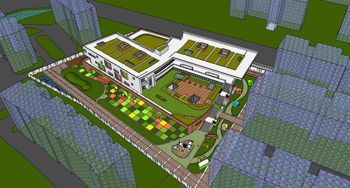 现代创意立体台阶式绿化屋顶活动平台幼儿园托儿所设计(3)