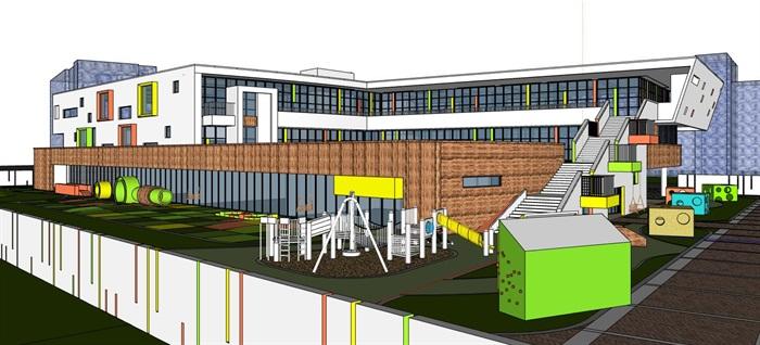 现代创意立体台阶式绿化屋顶活动平台幼儿园托儿所设计(4)