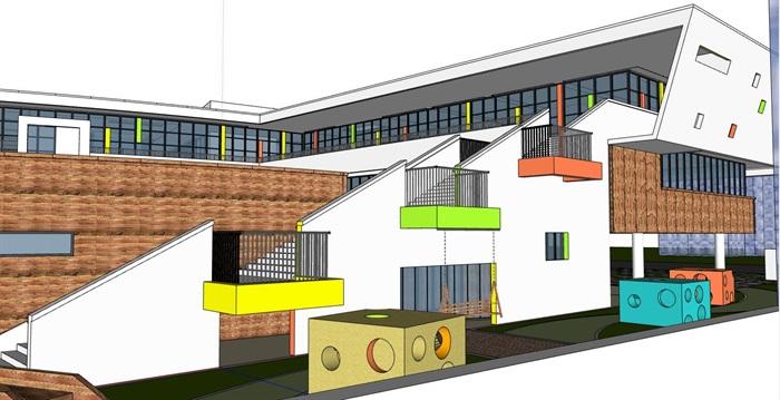 现代创意立体台阶式绿化屋顶活动平台幼儿园托儿所设计(5)