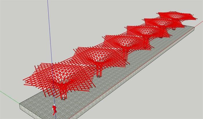 参数化杆件构成式漏斗形景观构架廊架(2)